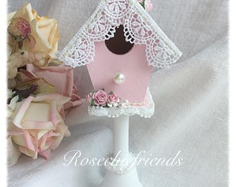Pedestsl BIRDHOUSE Shabby Cottage Hand Painted Pink Roses Chic ECS svfteam