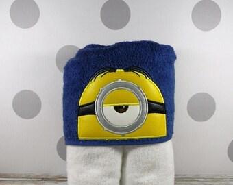 Kids Hooded Towel - Minion Stuart - character inspired Stuart the Minion Towel for Bath, Beach, or Swimming Pool