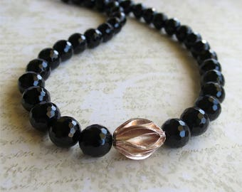Black onyx short classic necklace with silver focal. HALF PRICE Take 50% off.