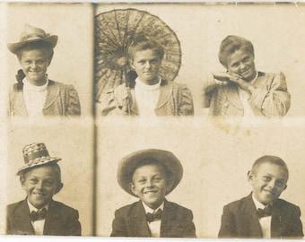 vintage photo 1910 6 gem Miniature photos little proofs Girl Hat Parasol and Boy Hats