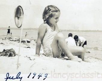 vintage photo 1943 Girl On Beach Sunsuit Sand Sunshine Pinwheel Toy