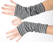 Grey arm warmers, grey and blue fingerless gloves, Chevron Jersey fingerless gloves, Patterned wristwarmers, MALAM, Gift for her