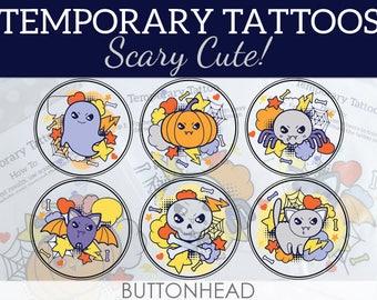 Cute Halloween Favors for Kids Over 12, Teens, Adults - Kawaii Halloween Ghost Pumpkin Spider Bat Skull and/or Cat - Temporary Tattoos