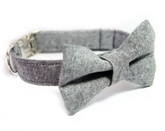 Bowtie Dog Collar - Wedding Collar - Black Linen Dog Collar