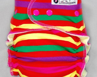 Cloth Diaper or Cover Made to Order - Red Nirvana Stripes - You Pick Size Style - Custom Striped Nappy or Wrap  - Reusable Cute