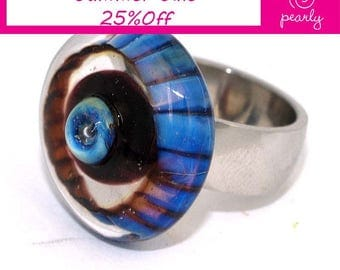 Pearly Blue Circlel Ring - Lampwork Jewelry - Lampwork Ring - Glass Bead Jewelry - Glass Bead Ring - Modern Jewelry - Geometric Jewelry