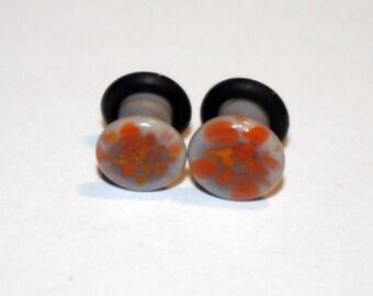 SALE 6g Purple Orange Pattern glass ear plugs body jewelry 4mm handmade new 6 gauge
