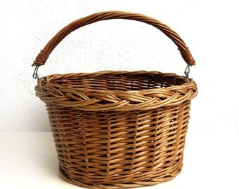 Vintage Wicker Bicycle Basket, Front Handlebar, Small or Childs Storage basket, Gift for cyclist, Rattan Groceries, Pet or Plant Bike Basket