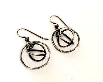Silver Orbit Earrings Kinetic Moving Oxidized Rustic Industrial Interlocking Rings