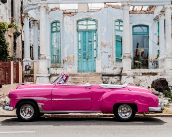 Classic Cuban car photograph vintage automobile pink white and turquoise street scene parked car wall decor art original Cuban art travel
