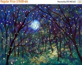 Fathers Day- 15 % off Giclee Canvas Print Fireflies under springtime moon Vadal - 20 x 16 x 3/4