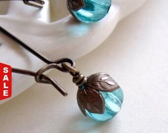 Aqua Earrings, Teal Earrings, Blue Earrings, Brown Brass Earrings, Gift for Her Jewelry