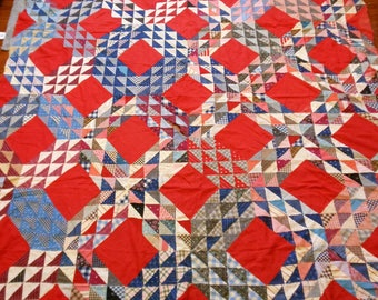 """Quilt top @ 74"""" x 74"""" Lovely Vintage Piece"""