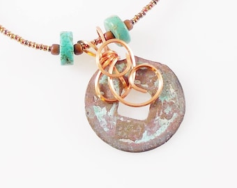 """Copper and Turquoise 18"""" Necklace Pendant Copper Toggle Clasp Genuine Turquoise"""