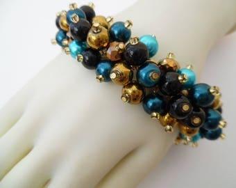 Black Teal Gold Beaded Bracelet,  Pearl Bead Bracelet, Cluster Bracelet, Chunky Bracelet, Teal Jewelry, Fashion Bracelet, Tuquoise Bead