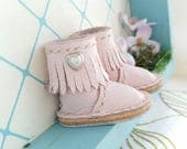 Mini Heart Light Pink Leather Neo Blythe Boots Azone Pureneemo M S Hand Made By MizuSGarden
