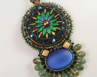 KIT Bluebell flower bead embroidery pendant with Czech glass button pendant in blue and green KIT