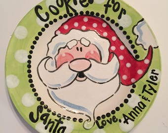 Adorable Cookies for Santa plate that can be personalized just for you