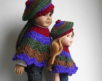 "Autumn Harvest Poncho and Beret Set in Fall Colors Handmade and Crocheted to fit 14"" and 18""  Wellie Wishers and American Girl Dolls"