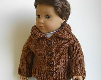 "Sweater hand knit to fit 18"" AG Boy Doll Logan in Brown with Big Collar and Faux Leather Buttons - 18"" Boy Doll Hand Knit Jacket"