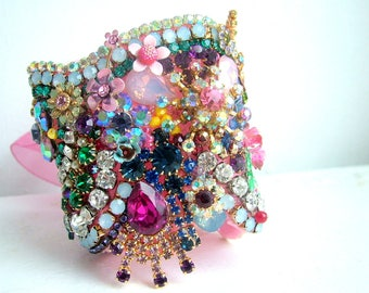 Embellished wrist cuff- OOAK - ready to ship xx