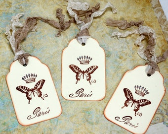 French Chic Butterfly Gift Tags Distressed Hand Stamped