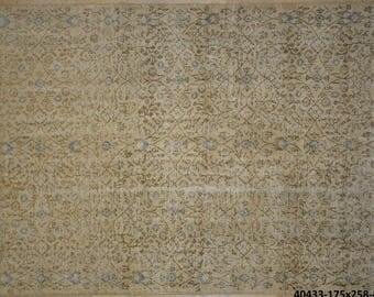 Carpet Blue Cream Floral Overdyed Rug Vintage 5.5' x 8.5'