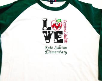 Love School Shirt - 1st Day Of School - School Spirit Shirt - Love School - I Love School - Apple Shirt - Custom School Shirt