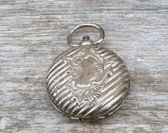 Vintage Antique 1900 Victorian Edwardian silvered metal  locket /pendant/Chatelaine
