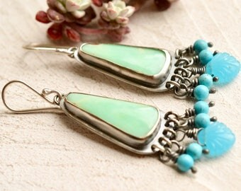 Chrysoprase Earrings, Modern Silver Earrings, Mint Green Stone Earrings, Beaded Turquoise Earrings, Summer Style, Oxidized Silver