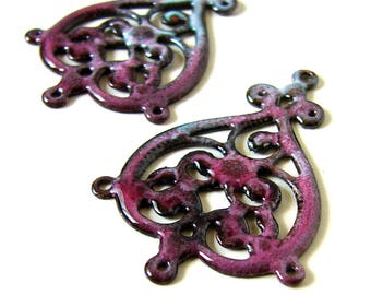 Raspberry Enamel Filigree Connector Charms