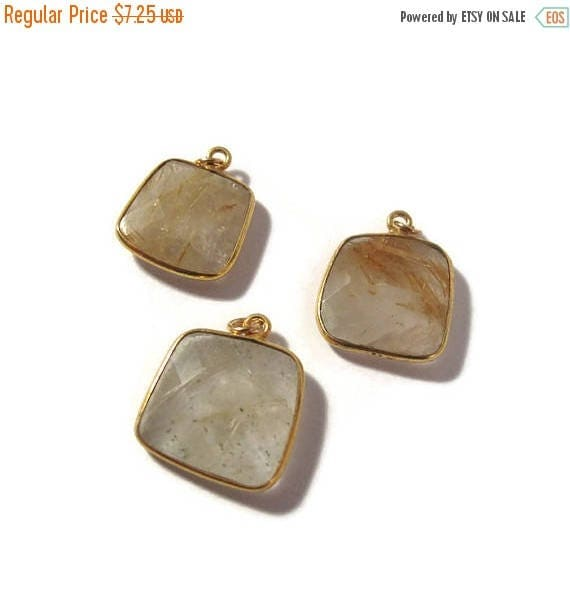 Summer SALEabration - One Gemstone Charm, Golden Rutile Quartz with Gold Bezel, Natural Gemstone Charm, 17.5x14.5mm -  19x16mm (C-Qu2)