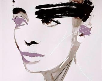 Plum - Fashion Illustration Portrait Art Print