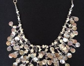 """17 """" crystal, glass, and mother of pearl necklace"""