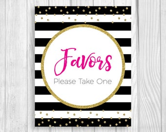 Printable Favors Please Take One Black and White Stripes 5x7, 8x10 Baby Shower Sign - Hot Pink and Gold Glitter Confetti Polka Dots