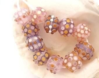 11 Pink Beads Handmade Lampwork