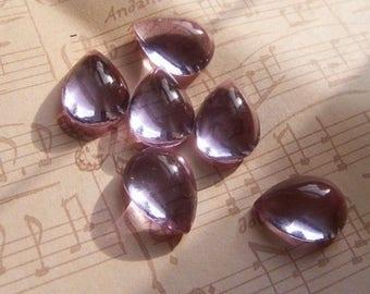 SALE 30% Off Alexandrite 15x11mm Pear Vintage Glass Cabochon 6 Pcs