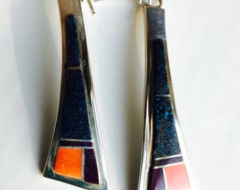 Vintage J. Johnson Earrings, Red Coral, Sugilite, Black Onyx, Jasper, Sterling Silver, Dangle Earrings, Southwest Earrings, Dangle Earrings