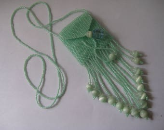 Hand beaded Amulet Necklace, Wish Bag, Treasure Bag in Green