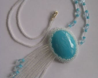 Necklace, Hand beaded in Crystal and Blue