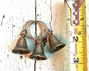 Three Brass Bells with Keychain Rings