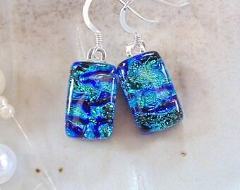 Green Earrings, Blue, Petite, Dichroic Earrings, Fused Glass Earrings, Dangle, Sterling Silver, A7