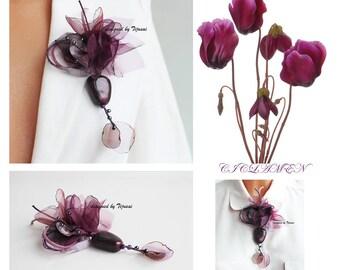 Burgundy ciclamen-pin-brooch-women accessory, fiber accsessory