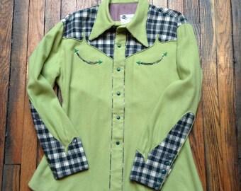Vintage NATHAN TURK Western Shirt green with plaid wool gabardine cowboy snap shirt gift