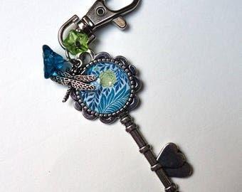 Blue Peony BS005A key bag charm