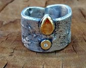 Sapphire Statement Ring , Chunky Silver,  22 kt yellow gold , sapphire and diamond , rustic gemstone ring
