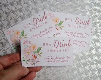 Drink or Beverage Ticket - Wedding Reception - Engagement Party - BOHO Flowers Blush Cream and Rose Gold - Floral (set of 50)