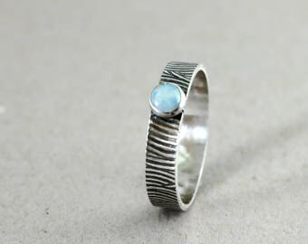 Opal ring, Sterling Silver, blue gemstone ring, stacking, Birthstone jewelry