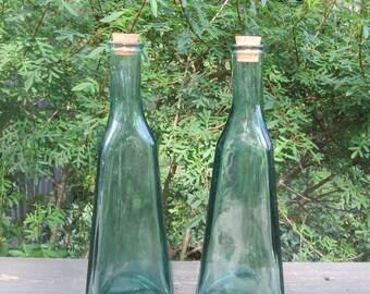 """Two Vintage Green Glass Bottles - Triangular Corked Bottles - Liquid Storage/ Barware/ Vases - 10 3/4"""" Tall"""