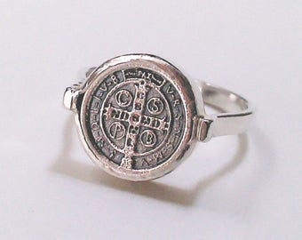 RESERVED FOR SUE Petite St. Benedict  Religious Medal Cross Ring Sterling Silver